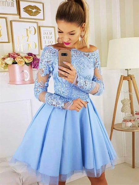 Long Sleeves Light Blue Short Lace Prom Dresses, Short Blue Lace Formal Homecoming Dresses