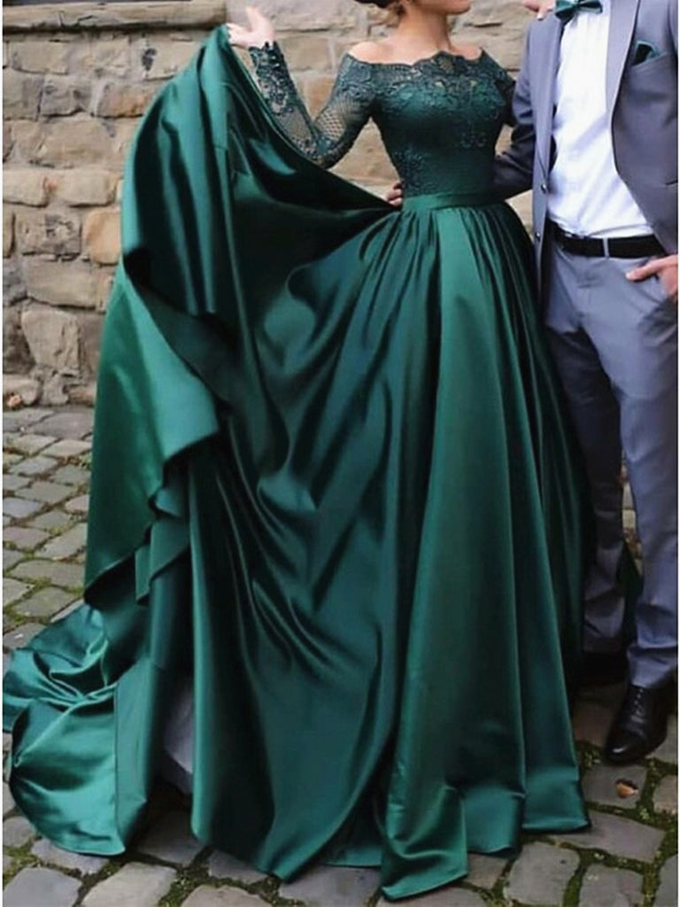 Long Sleeves Long Green Lace Prom Dresses, Emerald Green Lace Formal Evening Dresses
