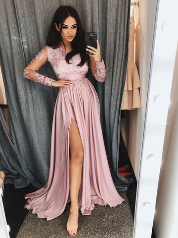 Long Sleeves Pink Lace Prom Dresses, Pink Lace Long Formal Evening Bridesmaid Dresses