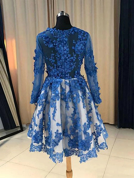 Long Sleeves Short Blue Lace Prom Dresses, Short Blue Lace Formal Homecoming Graduation Dresses
