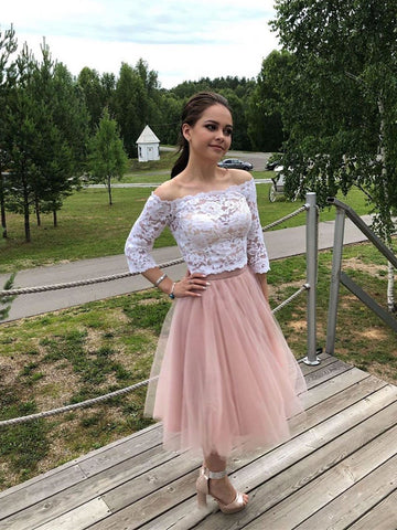 Long Sleeves Short Lace Prom Dress, Long Sleeves White Lace Formal Graduation Homecoming Dresses