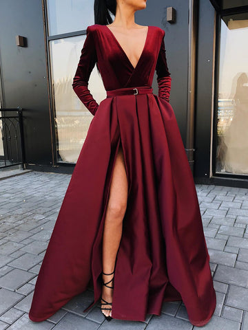 Long Sleeves V Neck Burgundy/ Black Prom Dress with High Slit, Burgundy/Black Long Sleeves V Neck Formal Graduation Evening Dresses