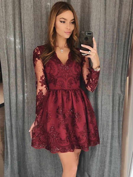 Long Sleeves V Neck Short Burgundy Lace Prom Dresses, Short Burgundy Lace Formal Homecoming Dresses