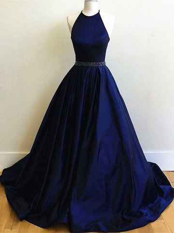 Round Neck Navy Blue Prom Dress with Sweep Train, Navy Blue Formal Dress