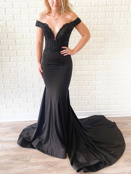 Off Shoulder Black Lace Prom Dresses, Off the Shoulder Black Lace Mermaid Formal Evening Bridesmaid Dresses