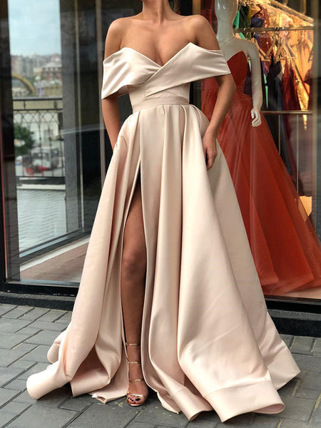 Off Shoulder Champagne Prom Dress Long, Off the Shoulder Champagne Formal Graduation Evening Dresses