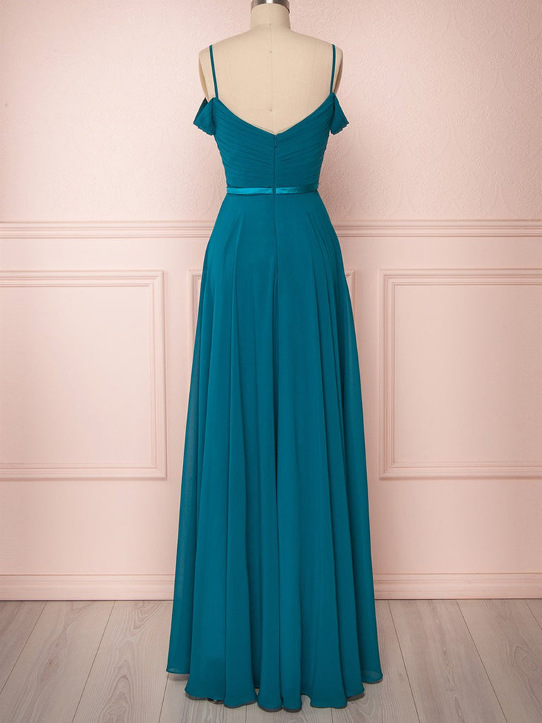 Peacock Floor Length Prom Dresses