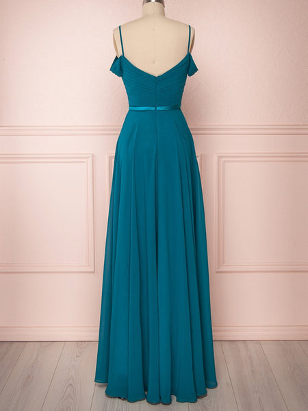 Off Shoulder Peacock Blue Prom Dress Long, Floor Length Peacock Blue Bridesmaid Formal Evening Dresses