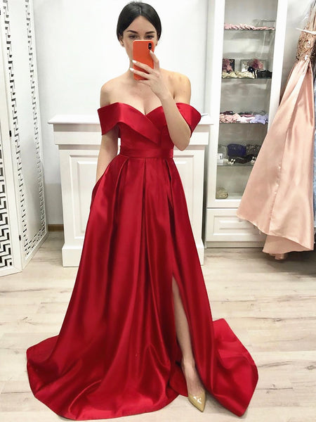 Off Shoulder Red Prom Dress with leg Slit, Red Off the Shoulder Formal Evening Dresses