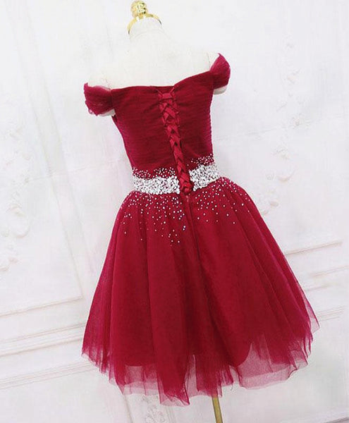 Off Shoulder Short Burgundy Prom Dresses, Short Burgundy Off the Shoulder Formal Homecoming Dresses