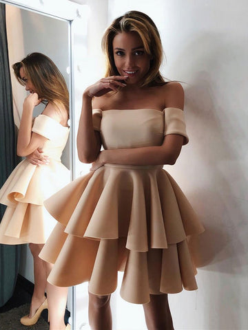 Off Shoulder Short Champagne Prom Dresses, Short Champagne Off the Shoulder Homecoming Dresses, Formal Dresses