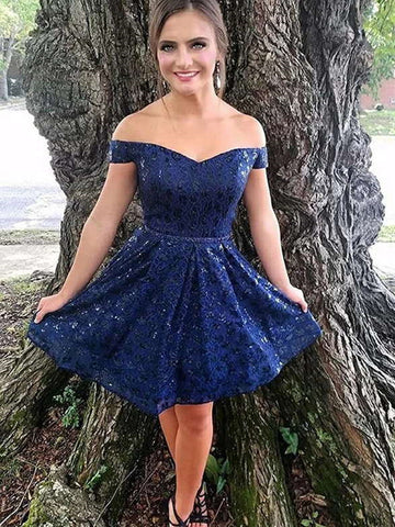 Off Shoulder Short Navy Blue Lace Prom Dresses, Short Navy Blue Lace Formal Homecoming Dresses