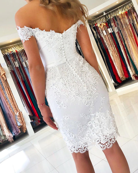 Off Shoulder Short White Lace Prom Dresses, Off The Shoulder Short White Lace Graduation Formal Homecoming Dresses
