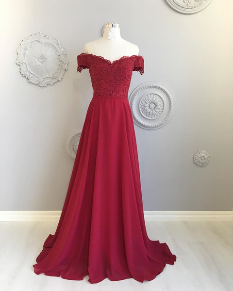 Off The Shoulder Floor Length Burgundy Lace Prom Dresses, Burgundy Off Shoulder Lace Bridesmaid Dresses