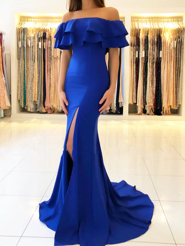 Off The Shoulder Royal Blue Green Mermaid Long Prom Dress with Slit, Royal Blue Green Off Shoulder Mermaid Formal Graduation Evening Dresses