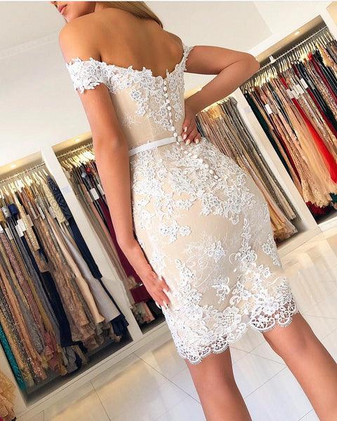 Off The Shoulder Short Champagne Lace Prom Dresses, Off Shoulder Short Champagne Lace Formal Graduation Dresses