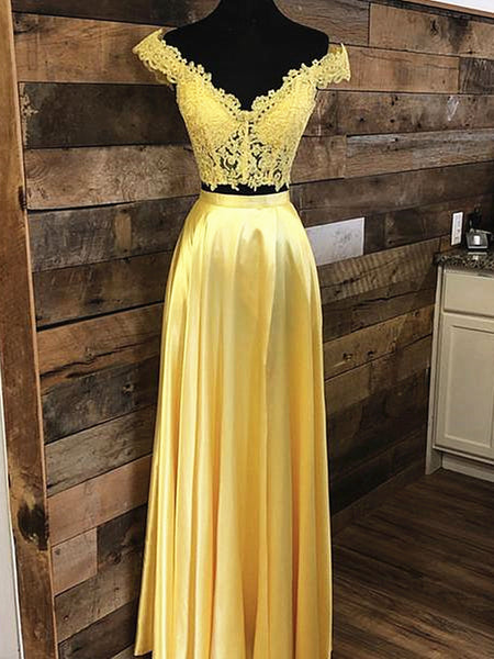 Off the Shoulder 2 Pieces Yellow Lace Prom Dresses, Two Pieces Off Shoulder Yellow Lace Formal Evening Dresses