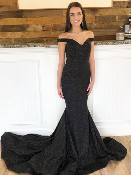 Off the Shoulder Black Mermaid Prom Dresses with Train, Off the Shoulder Black Mermaid Formal Evening Dresses