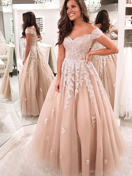 Off the Shoulder Champagne Lace Wedding Dresses, Champagne Lace Formal Prom Dresses
