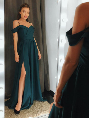 Off the Shoulder Dark Green Prom Dresses, Green Off Shoulder Long Formal Bridesmaid Dresses