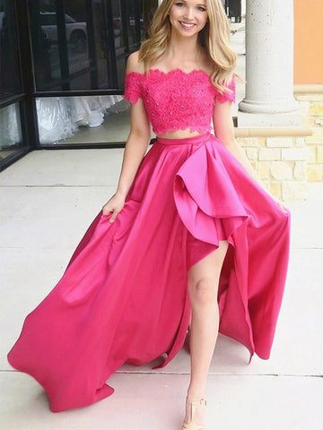 Off the Shoulder Pink High Low Lace Prom Dresses, Off Shoulder Pink High Low Lace Formal Evening Dresses