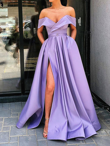 Off the Shoulder Purple Long Prom Dress with Leg Slit, Purple Off Shoulder Floor Length Formal Evening Dresses