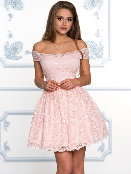 Off the Shoulder Short Pink Red Lace Prom Dresses, Short Off Shoulder Lace Fomal Homecoming Dresses