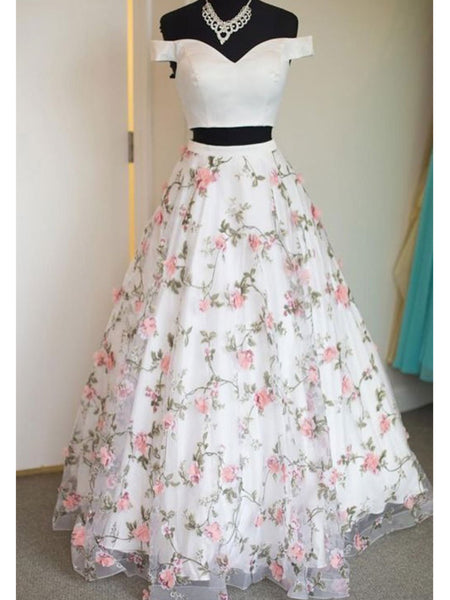 Off the Shoulder White Floral Prom Dresses, Off Shoulder White 3D Flower Long Formal Graduation Evening Dresses