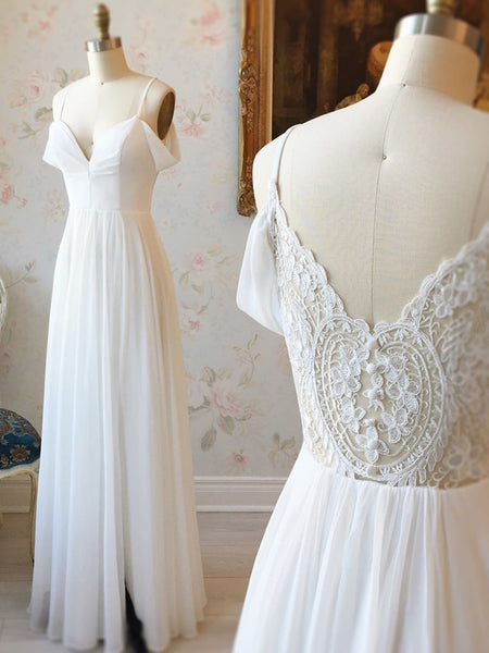Off the Shoulder White Lace Prom Dresses, Off Shoulder White Lace Wedding Formal Evening Dresses
