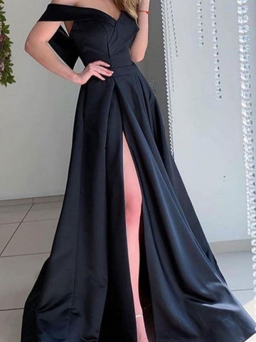 Off the Shoulder Black Satin Long Prom Dresses, Black Off Shoulder Long Formal Evening Dresses