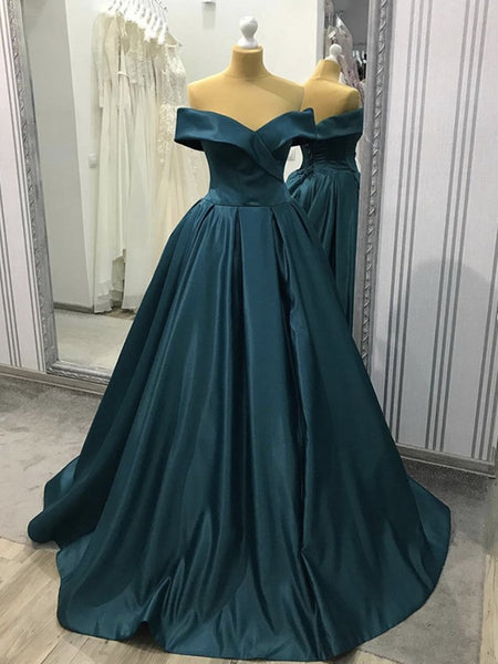 Off the Shoulder Blue-Green Prom Gown, Off Shoulder Satin Formal Evening Gown