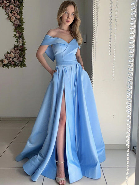 Off the Shoulder Blue Satin Long Prom Dresses, Off Shoulder Blue Long Formal Evening Dresses