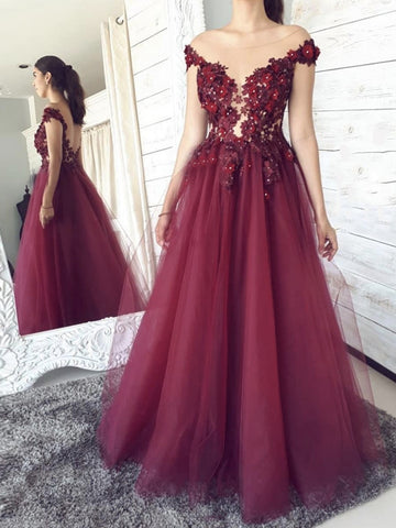 Off the Shoulder Burgundy Lace Floral Prom Dresses, Wine Red Lace Formal Evening Dresses
