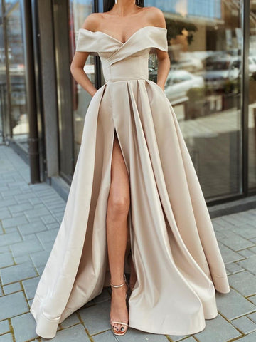 Off the Shoulder Champagne High Slit Long Prom Dresses, Off Shoulder Champagne Formal Evening Dresses