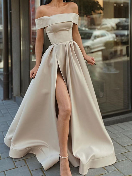 Off the Shoulder Champagne High Slit Prom Dresses, Off Shoulder Champagne Long Formal Evening Dresses
