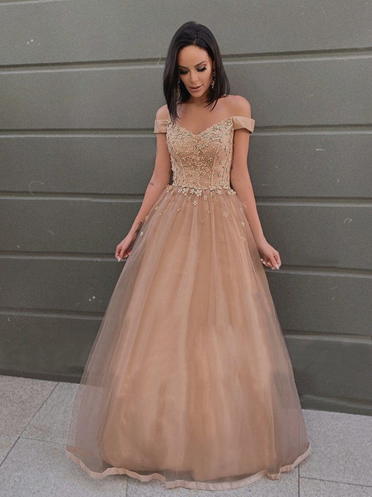 Off the Shoulder Champagne Tulle Lace Prom Dresses, Off Shoulder Champagne Lace Formal Evening Dresses