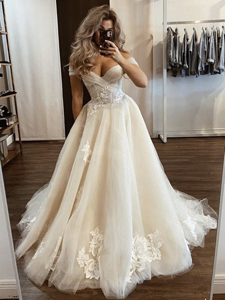 Off the Shoulder Champagne Wedding Dresses, Off Shoulder Champagne Floral Prom Dresses