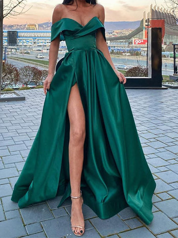 Off the Shoulder Emerald Green Satin Long Prom Dresses with Leg Slit, Off Shoulder Dark Green High Slit Long Formal Evening Dresses