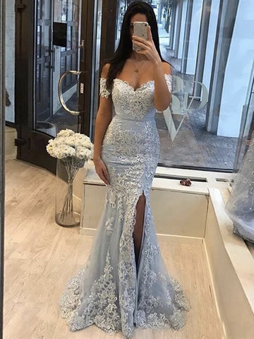 Off the Shoulder Light Blue Mermaid Lace Prom Dresses, Off Shoulder Mermaid Lace Formal Evening Dresses