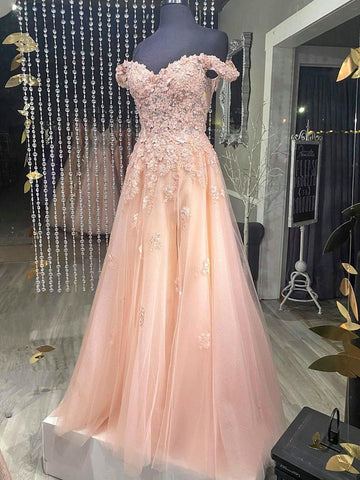 Off the Shoulder Pink-Champagne Lace Prom Dresses, Off Shoulder Lace Formal Evening Dresses