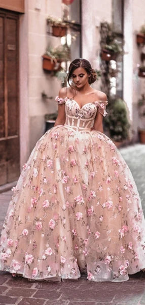 Off the Shoulder Pink 3D Floral Long Prom Dresses, 3D Flower Pink Formal Evening Dresses