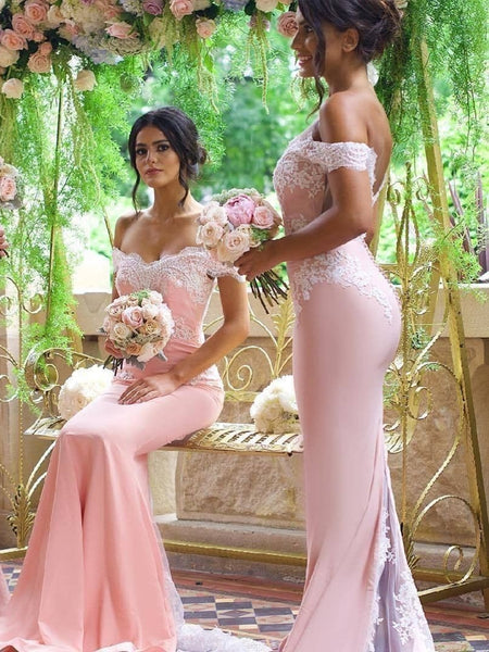 Off the Shoulder Pink Mermaid Lace Prom Dresses, Pink Mermaid Lace Bridesmaid Dresses