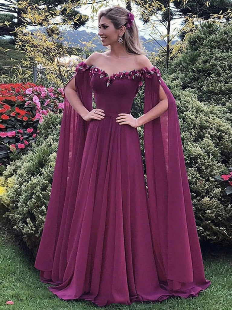Off the Shoulder Purple Floral Long Prom Dresses, Purple Long Formal Evening Dresses