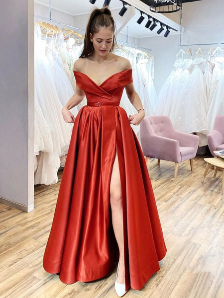 Off the Shoulder Red Satin Long Prom Dresses, Off Shoulder Red Formal Evening Dresses
