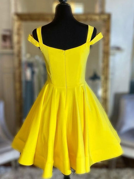 Off the Shoulder Short Yellow Prom Dresses, Short Yellow Formal Graduation Dresses