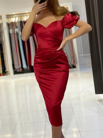 Off the Shoulder Tea Length Burgundy Prom Dresses, Wine Red Tea Length Satin Formal Evening Dresses
