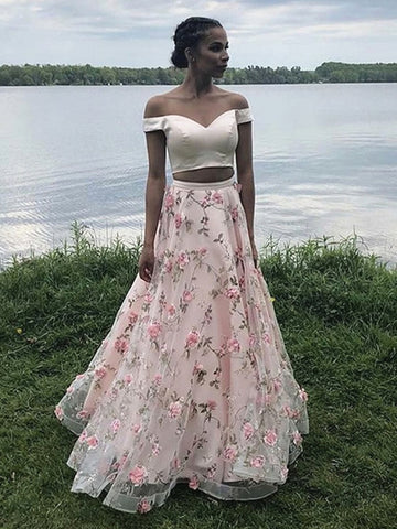 Off the Shoulder Two Pieces Pink 3D Floral Prom Dresses, Pink Off Shoulder 2 Pieces Floral Long Formal Evening Dresses