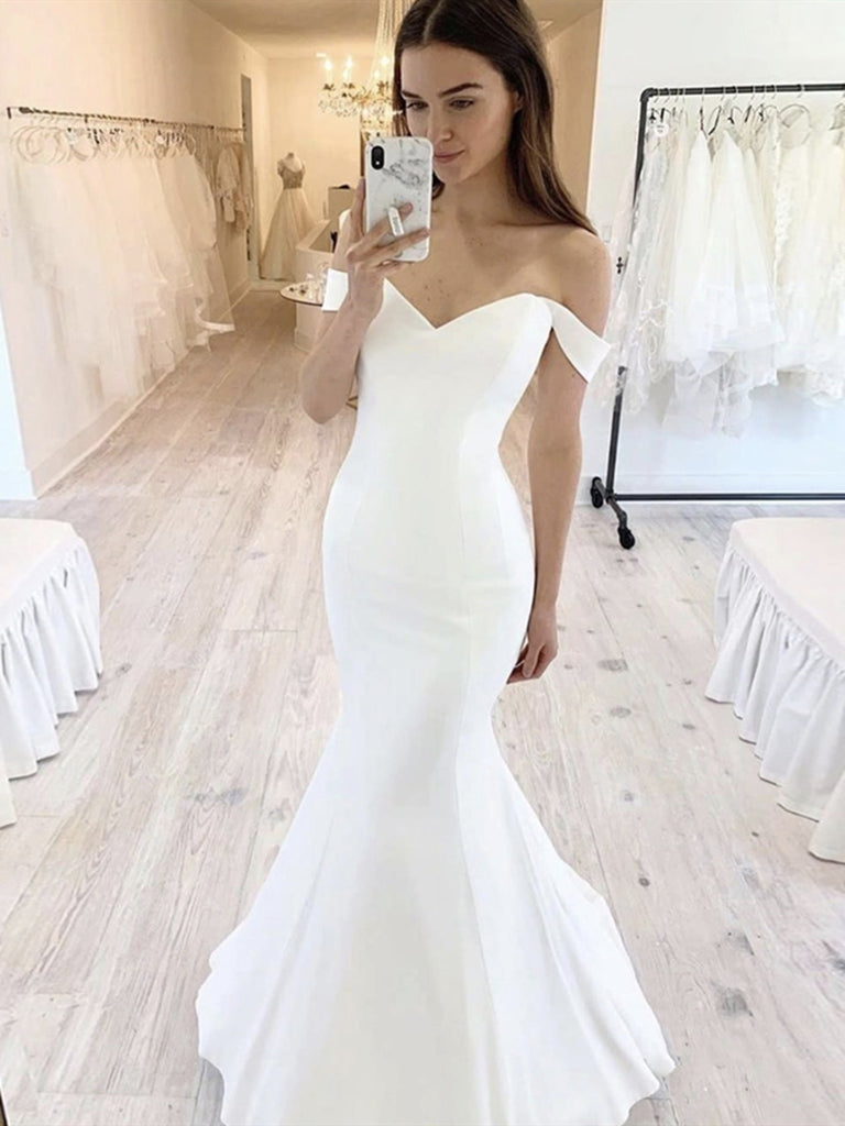 Off the Shoulder White Mermaid Wedding Dresses, White Mermaid Formal Evening Dresses
