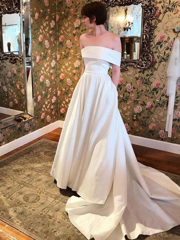 Off the Shoulder White Satin Prom Dresses, Off Shoulder White Satin Long Formal Evening Dresses