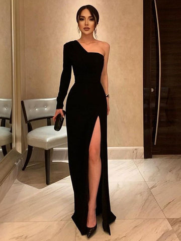 One Shoulder Black Velvet Long Prom Dresses, Black One Shoulder Velvet Formal Evening Dresses